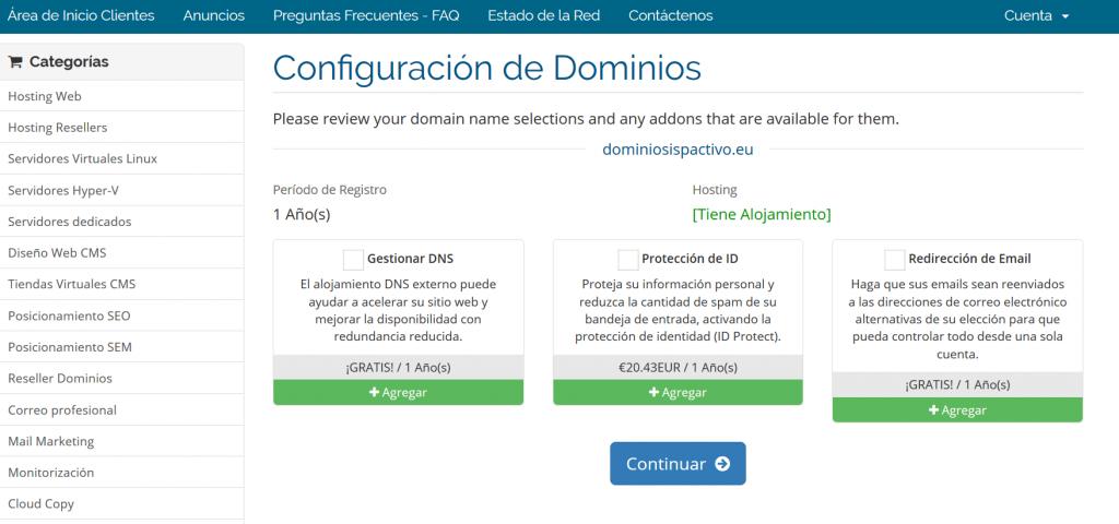 complementos de dominios