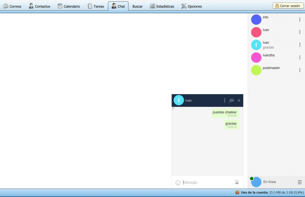Video Chat en su WebMail