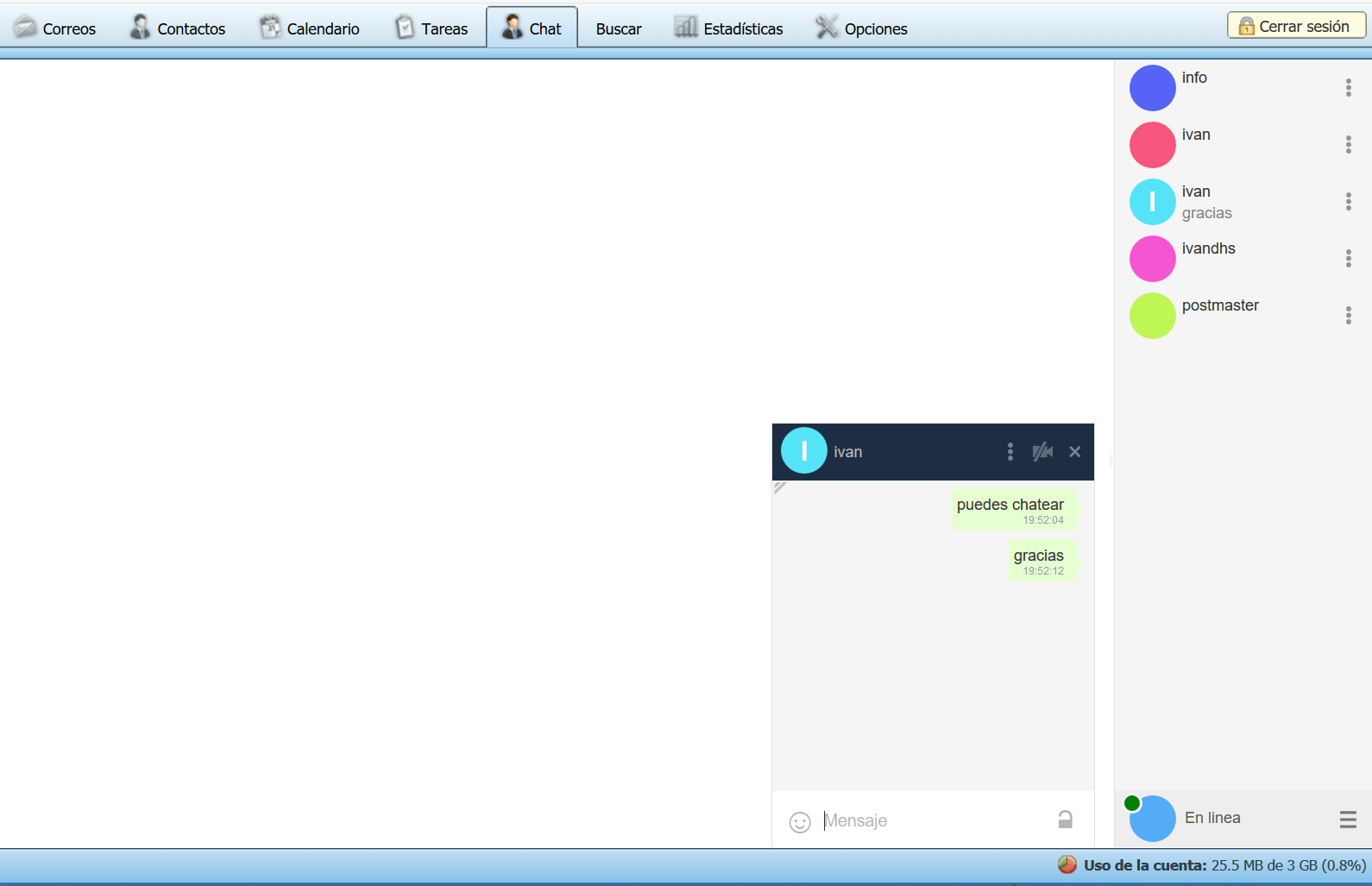 Video Chat en su WebMail